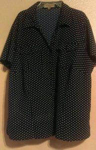 Notations black & white polka dot blouse